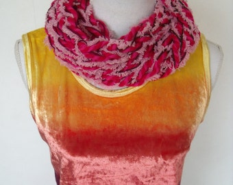 mixed red cowl neck with pink fluff thread