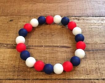 Red White Navy 10mm Silicone Bracelet