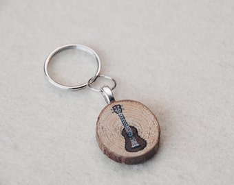 Hand Painted Wood Ukulele Keychain