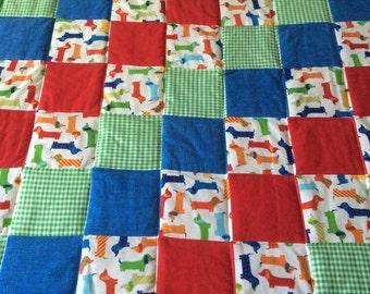 Dachshund quilt dog blanket, baby quilt, flannel blanket, flannel quilt
