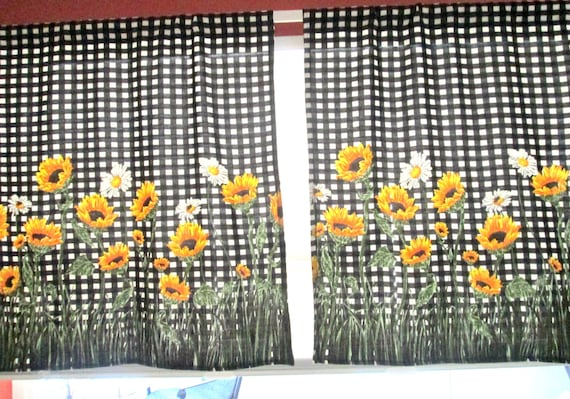 Kitchen Window Curtains Sunflower Cafe Curtainsblack And