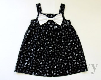 Girl's Dress in Tune Music Notes. Music Concert/ Orchestra Dress for Kid. Made to Order Girl Dress in All Sizes: 1-8