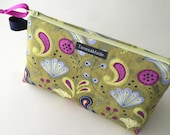 Stand Up Green Floral Zip Pouch