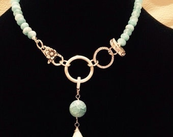 Aqua Quartz and Agate Necklace on Silver.