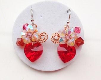Small cute red  heart dangle earrings using swarovski elements/mini earring/red dangle earring/Chic earring/Red heart jewelry/love heart