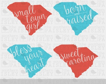 South Carolina - Born and Raised - Bless Your Heart - Born and Raised - Sweet Carolina - .svg/.eps/.dxf/.ai