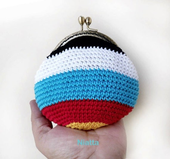 Coin Purse Crochet : Crochet Coin Purse Rhinestone Kiss Clasp Metal Frame Change Purse ...