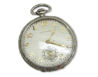 Vintage 1927 Hamilton Masterpiece 18k White Gold Pocket Watch 922MP