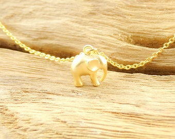 Dainty little elephant necklace 14k matte gold plated