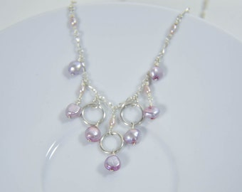 Sterling Statement Necklace with Mauve Pearls