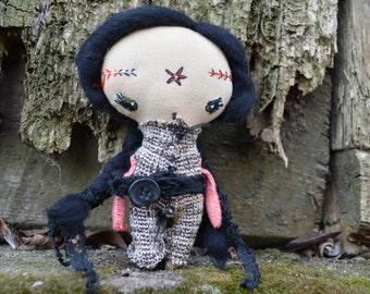 Stuffed textile rag doll - Miniature doll - Fabric toy - ooak - Hand made.