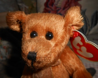 TY collectible toy bear named carson teddy bear shabby chic vintage bear visible tag