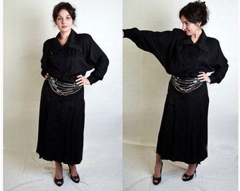 Jackie Bernard Eklektic Black Inspector Gadget Button Front Shirtwaist Dress 1980s does 1930s size medium large