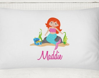 Mermaid Pillow Case, Girls Personalized Mermaid Pillow Cover, Mermaid Bedding, Mermaid Pillowcase, Mermaid Birthday Gift, Pillowcase ONLY