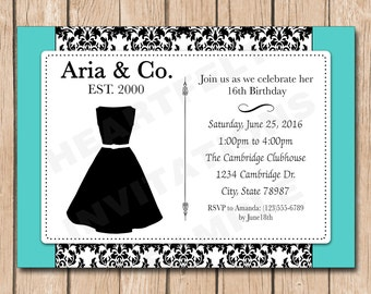 Tiffany's Birthday Invitation | Paris, Teen, Adult, Breakfast at Tiffany's, Little Black Dress, 50s - 1.00 each printed