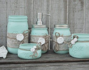 Mason Jar Bathroom Set Mint Green Shabby Chic Soap Dispenser Jars
