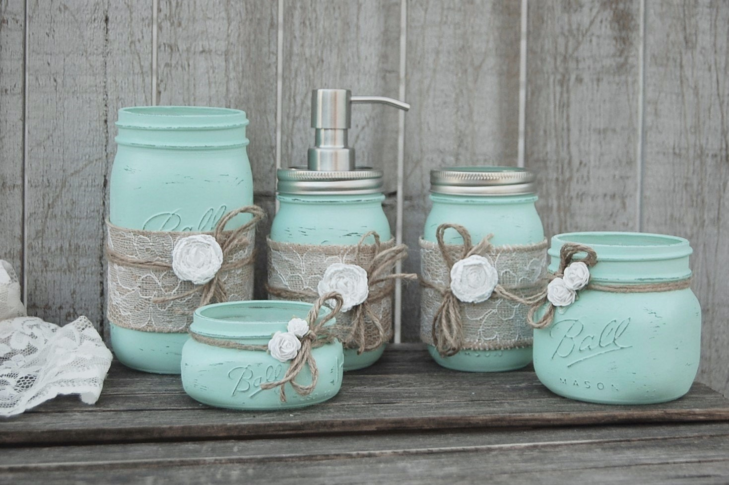 Mason jar bathroom set mint green shabby chic soap for Bathroom decor mason jars