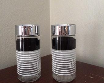 Black + White + Chrome Glass Salt Pepper Shakers