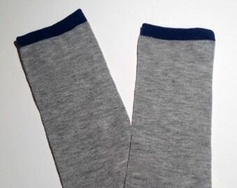 Gray and blue baby leg warmers, baby legwarmers, baby leg warmers, legwarmers for baby, toddler legwarmers, unisex legwarmers