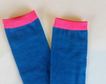 Blue legwarmers, baby legwarmers, baby leg warmers, legwarmers for baby, infant legwarmers, blue and pink leg warmers, baby legs