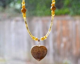 SALE Jasper & Agate Heart Necklace