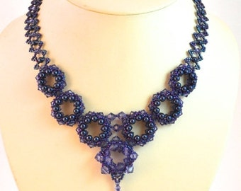 Valentine Sale Tanzanite Swarovski Crystal Necklace