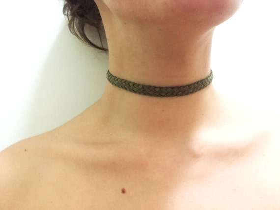 Olive green, black, caramel and beige braided suede adjustable choker with gold clasp