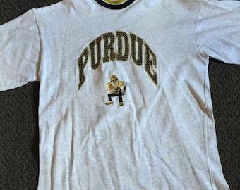 Vintage White Purdue Boilermakers University Crewneck T Shirt Size L