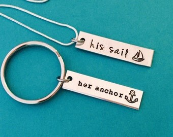 Valentines day gift - His and Her - His sail , Her anchor  couples hand stamped matching necklaces- couple set - anniversay wedding - set