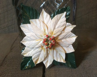 Polymer Clay Poinsettia and Holly Pins