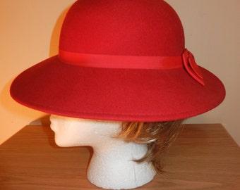 Woman's Vintage Red Felt Hat - 100% Wool