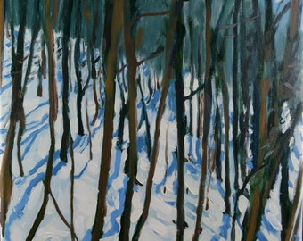 Original Oil Painting, Berkshire Landscape, Winter Landscape, Snow by Robert Lafond