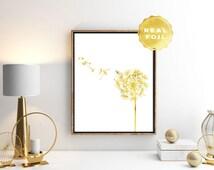 Dandelion Gold Real Foil - Gold Foil Dandelion Art Print - Gold Floral Print - Dandelion Wall Art - Gold Room Decor - White and Gold Art