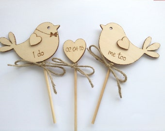 Personalised Wedding Cake Topper, Bird Cake Topper, I Do Me Too Cake Topper, Wooden Cake Topper