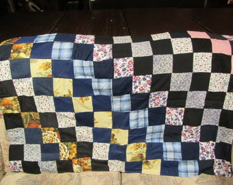 """vintage PATCHWORK Quilt ; Crib size or Lap Quilt  :47"""" Long x 31"""" wide.  Handmade"""