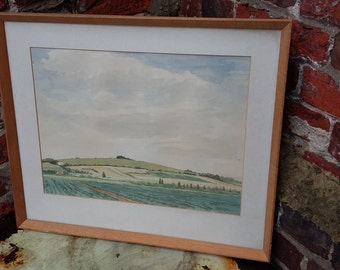 Vintage Watercolour Highdown Hill from Parsons Walk