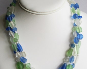 Multicolor Beach Glass Necklace in Blue, Green, and White -- Ideal for Spring and Summer