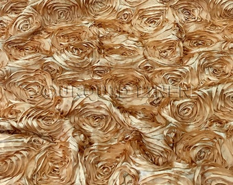 Rose Satin in Gold - Decorative Fabric With A Rose Embroidery Throughout - Best for Weddings, Bridal Parties, and Events