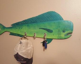 Hat or Key Rack Dolphin Mahi Mahi recycled fence wood hand painted