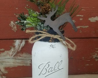 Fall Decor ~ Fall Mason Jar ~ Christmas Decorations ~White Mason Jar~Christmas Jar