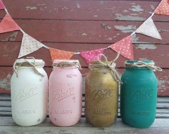 SALE! Mason Jar Decor, Painted Mason Jar, Wedding centerpieces, Baby Shower decor, Hand Painted Mason Jar, Pink Mason Jar, White Mason Jar