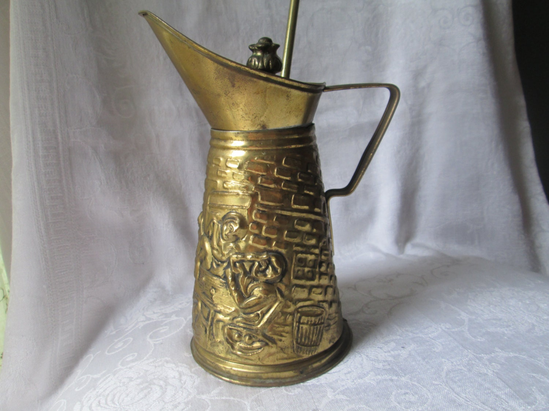 Vintage Brass Fireplace Lighter Kerosene Lamp Oil Pitcher