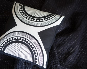 Hollywood Black 40cm x 40cm box cushion - Hand screen printed