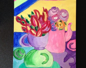 "Original, acrylic painting, ""Time for Tea with Barbie"""