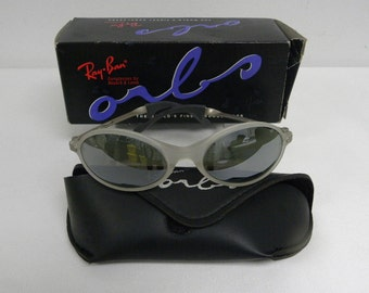 New Vintage B&L Ray Ban Orbs Oval White Ice Frost Ellipse Silver Mirror Sunglasses usa