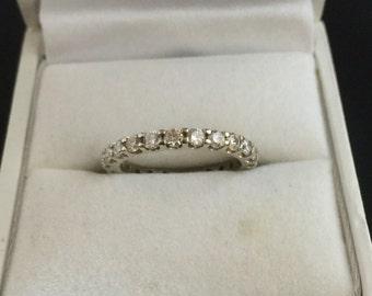 Vintage 14K White Gold Diamond Eternity Band - Size 5.5