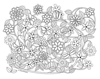 Vines And Flowers Adult Coloring Page