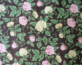 Floral Quilt Fabric ~ Pink, Ivory Roses on Dark Chocolate Brown ~ Renaissance by P & B Textiles ~ 100% Cotton ~ By the Yard