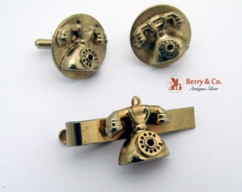 SaLe! sALe! Dial Phone Cufflinks Tie Clip Applied Figures Gold Tone Metal Vintage 1950s