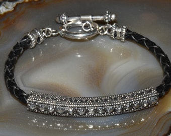 Sterling Silver Leather Bracelet Bali Silver Black Rocker Bangle